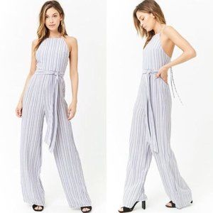 NEW White/Blue Striped Self Tie Jumpsuit